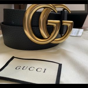 Black leather Gold buckle GG Belt